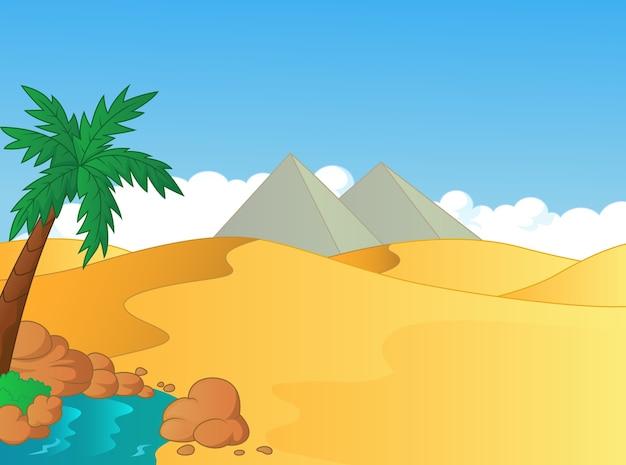 Beeldverhaalillustratie van kleine oase in de woestijn