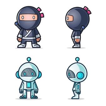 Beeldverhaalillustratie van ninja en robot.