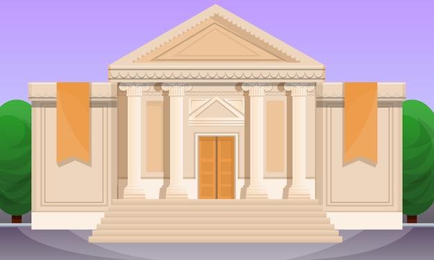 Beeldverhaalillustratie van oud museum