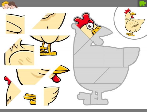 Beeldverhaalillustratie van puzzelspel met kip