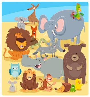 Beeldverhaalillustratie van wilde dierlijke karakters