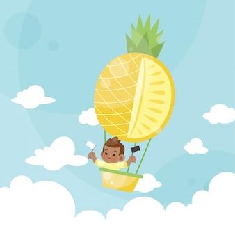 Beeldverhaaljonge geitjes die een ananas van de hete luchtballon berijden