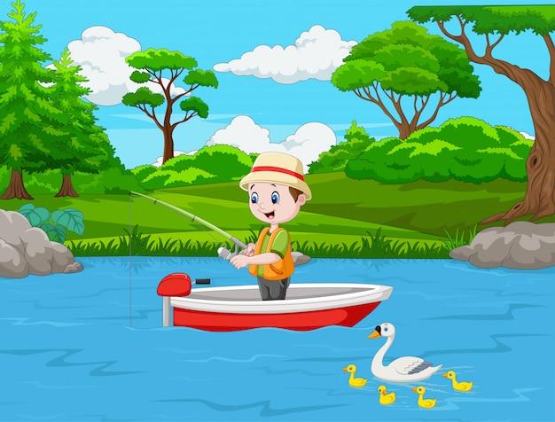 Beeldverhaaljongen die op een boot vissen