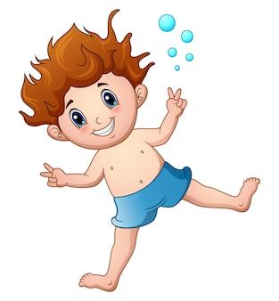 Beeldverhaaljongen in zwempak het springen