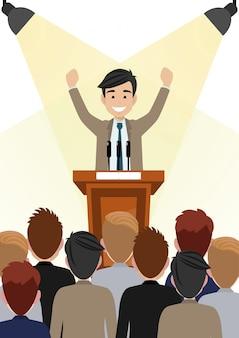 Beeldverhaalkarakter met zakenman die en heden aan openbaar gebied op podiumkarakter werken