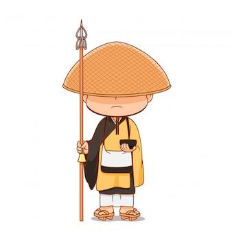Beeldverhaalkarakter van japanse boeddhistische monnik.