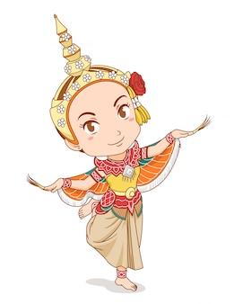 Beeldverhaalkarakter van traditionele thaise danser in kinnari-kleding.