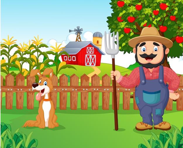 Beeldverhaallandbouwer die een hark met hond houdt