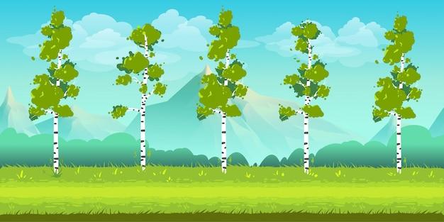 Beeldverhaallandschap met bomen en bergen