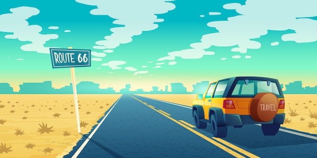 Beeldverhaallandschap van onvruchtbare woestijn met lange weg. auto rijdt langs asfaltweg naar canyon