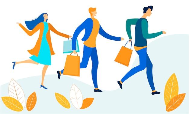 Beeldverhaalman en vrouw die met het winkelen zakken haasten