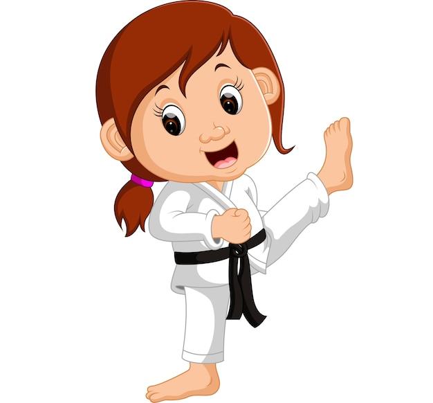 Beeldverhaalmeisje die karate uitoefenen