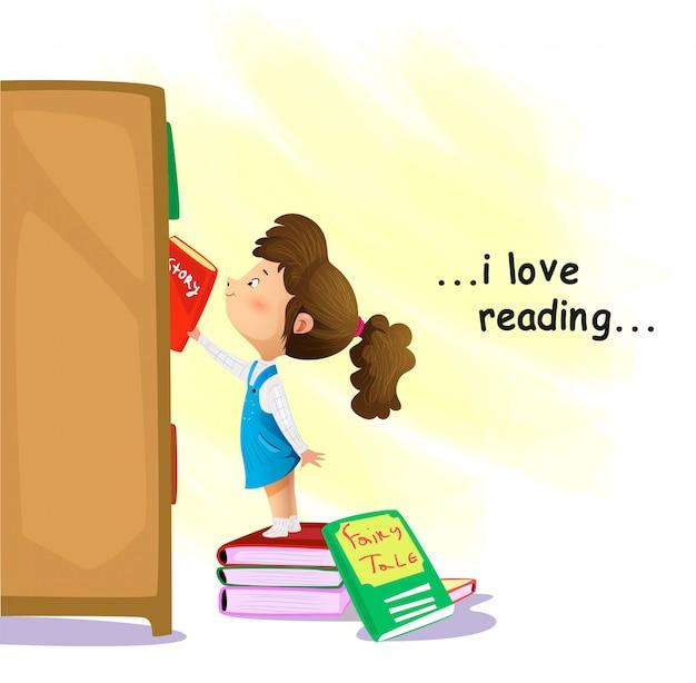 Beeldverhaalmeisje die naar een boek in boekhandel zoeken