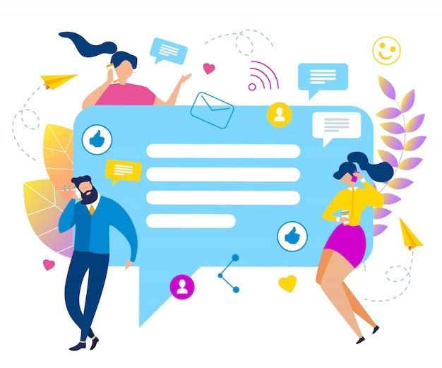 Beeldverhaalmensen met de sociale media vectorillustratie van de bellentoespraak.