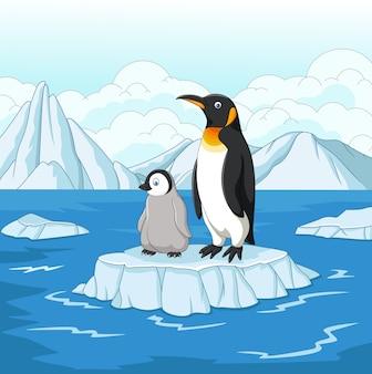 Beeldverhaalmoeder en babypinguïn op ijsschots