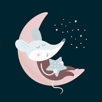 Beeldverhaalmuis met sterslaap op de maan