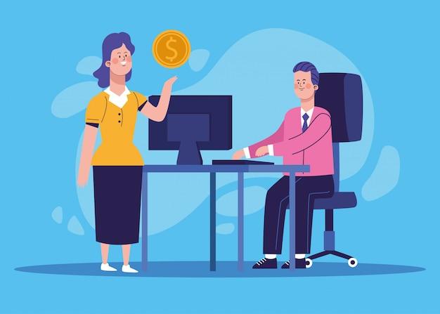 Beeldverhaalonderneemster met geldmuntstuk en zakenman op kantoor