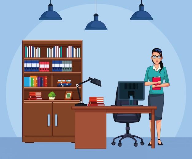 Beeldverhaalonderneemster op kantoor, kleurrijk ontwerp