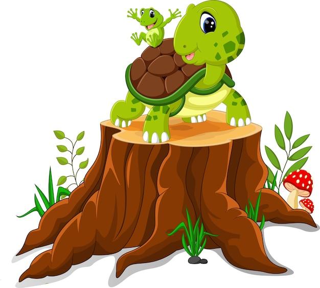 Beeldverhaalschildpad en kikker het stellen op boomstomp