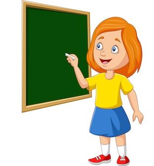 Beeldverhaalschoolmeisje die op het bord schrijven