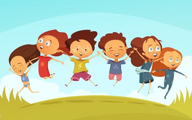 Beeldverhaalteam van vrolijke vrienden die handen houden