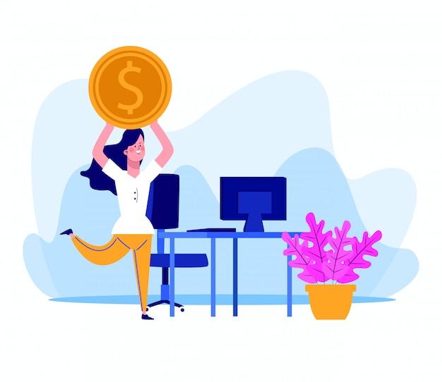 Beeldverhaalvrouw met geldmuntstuk en bureau met computer
