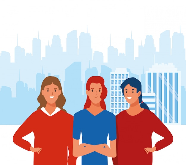 Beeldverhaalvrouwen die over stedelijk stadslandschap glimlachen