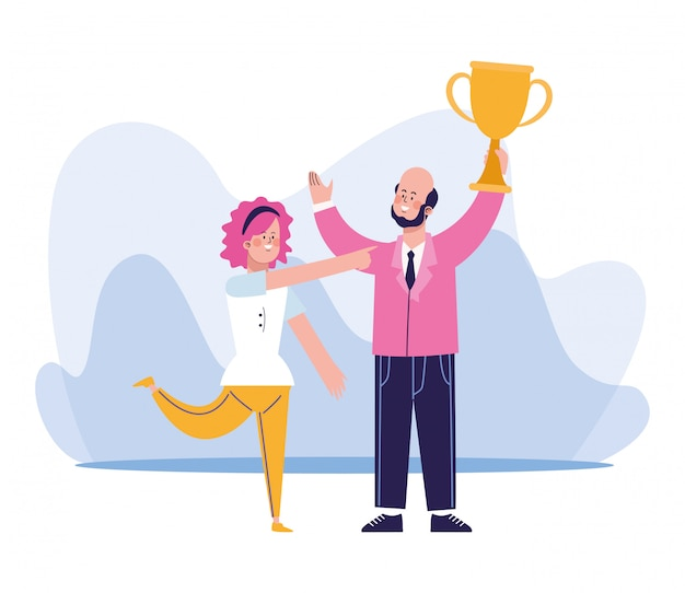 Beeldverhaalzakenman die een trofeekop en een vrouw steunen