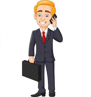 Beeldverhaalzakenman die op de aktentas van de telefoonholding omslag spreken