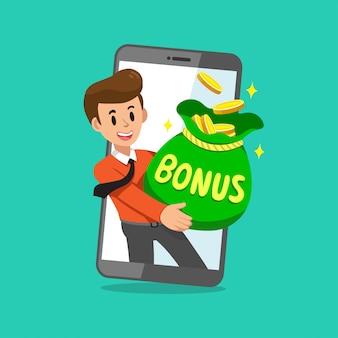Beeldverhaalzakenman met de grote zak van het bonusgeld op het smartphonescherm