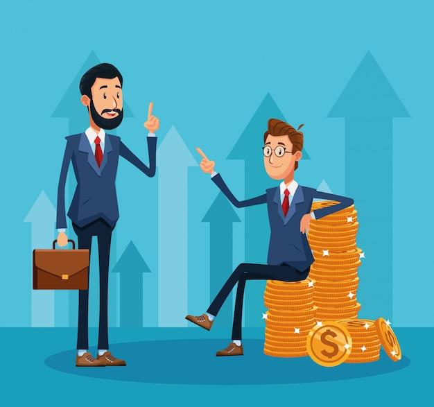 Beeldverhaalzakenman status houdend een portefeuille en zakenmanzitting op een stapel van geldmuntstukken