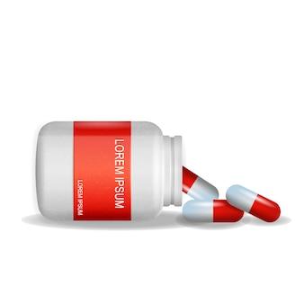Beeldverpakking pijnstiller pils witte achtergrond
