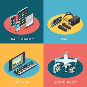 Beeltenis van verschillende gadgets smart technology games art music video