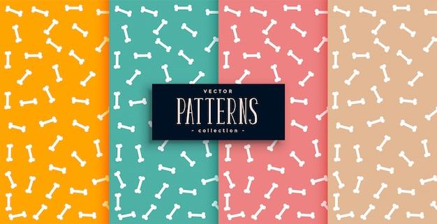 Beenderenpatroon in vier kleuren geplaatst desgin