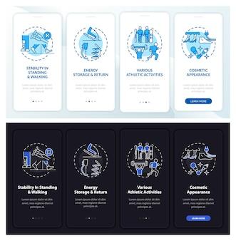 Beenprothesetaken onboarding paginascherm van mobiele app met concepten