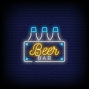 Beer bar neon signs style text vector