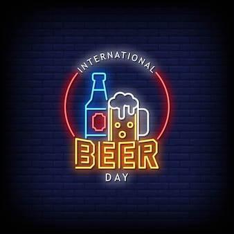 Beer day neon signs style text