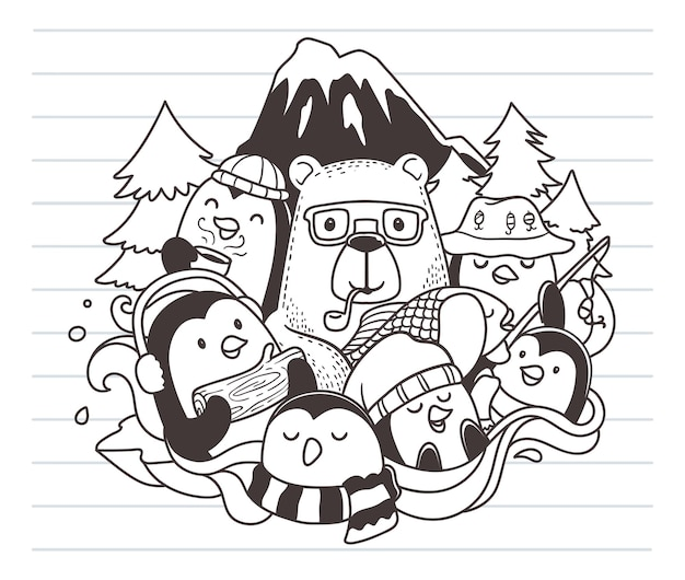 Beer en pinguïns doodle kunst