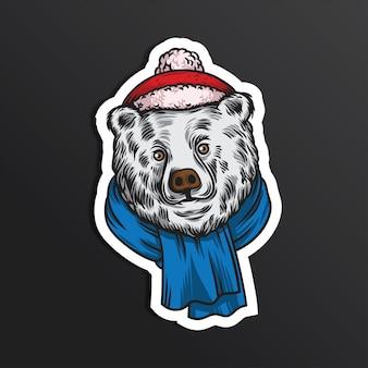 Beer hello winter illustratie sticker