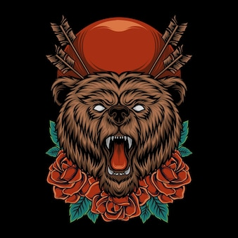 Beer hoofd illustratie met roos ornament