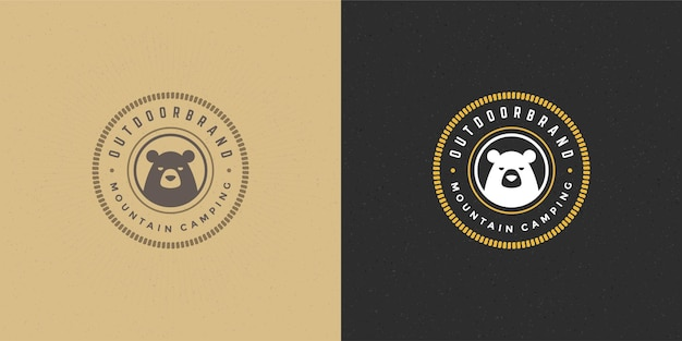 Beer hoofd logo embleem vector illustratie silhouet voor shirt of print stempel. vintage typografie badge of labelontwerp.
