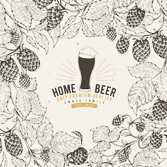 Beer hop ontwerpsjabloon. vintage bier achtergrond.