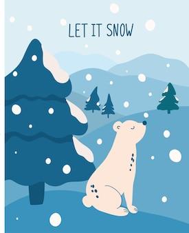 Beer in een besneeuwd bos. besneeuwde dag. de inscriptie letters laat het sneeuwen. hand tekenen ijsbeer zit op een heuvel. berg winterlandschap. wintertijd kaartsjabloon. kerstkaart. vector