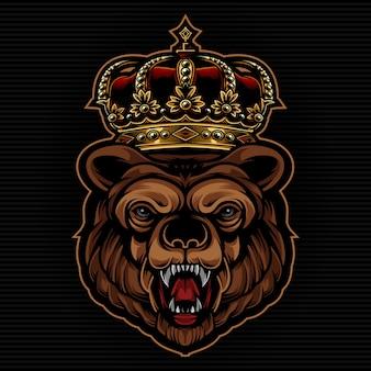 Beer met king crown illustratie