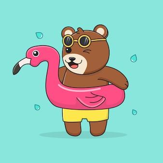 Beer met zwemring flamingo en zonnebril