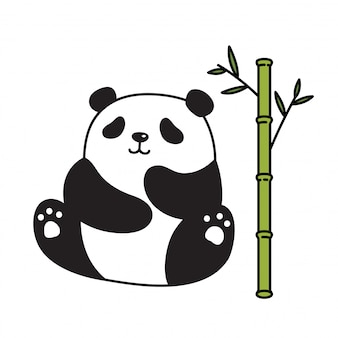Beer panda cartoon bamboe