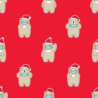 Beer polair naadloos patroon gezichtsmasker kerst kerstman