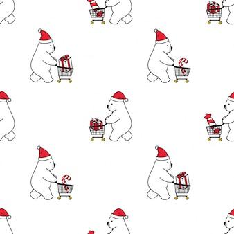 Beer polair naadloos patroon kerst kerstman winkelwagen