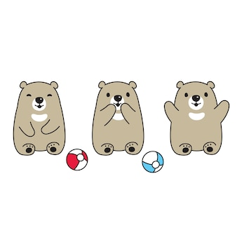 Beer polar teddy bal stripfiguur pictogram
