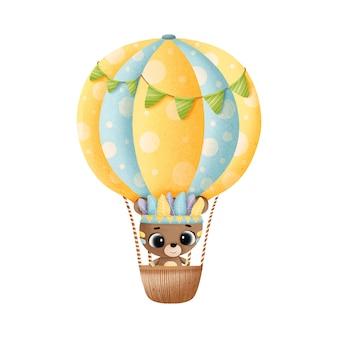 Beer vliegt in een ballon, aquarel illustratie. boho-stijl